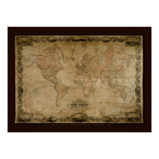 COLTONS Old World Map (c 1847) Art Poster