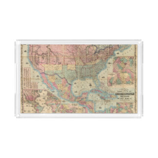 Colton's Railroad And Military Map Acrylic Tray