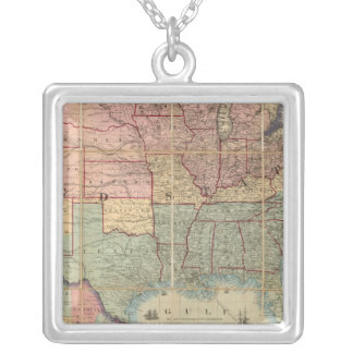 Colton's Railroad And Military Map Silver Plated Necklace