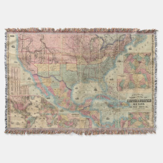 Colton's Railroad And Military Map Throw Blanket