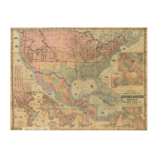 Colton's Railroad And Military Map Wood Prints