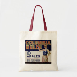 "Columbia Belle Vintage Apple Crate Label"" Tote Budget Tote Bag"