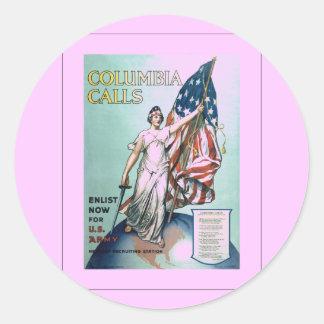 Columbia calls classic round sticker