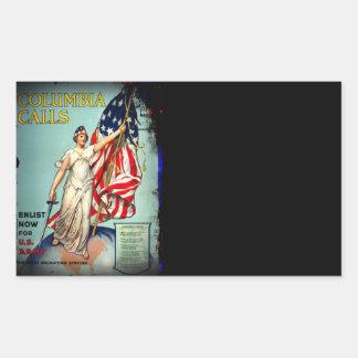 "Columbia Calls ""Enlist Now!"" Rectangular Sticker"
