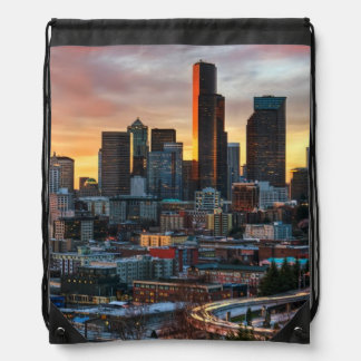 Columbia center and downtown Seattle, Seattle Drawstring Bag