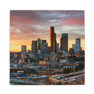 Columbia center and downtown Seattle, Seattle Maple Wood Coaster