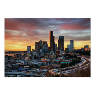 Columbia center and downtown Seattle, Seattle Poster