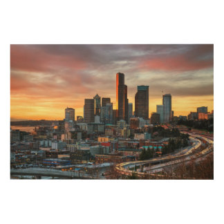 Columbia center and downtown Seattle, Seattle Wood Print