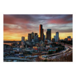 Columbia centre and downtown Seattle, Seattle Poster