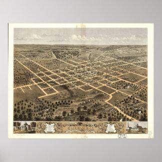 Columbia Missouri 1869 Antique Panoramic Map Poster