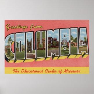 Columbia, Missouri - Large Letter Scenes Poster