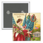 Columbia Observes Memorial Day Vintage Pinback Buttons