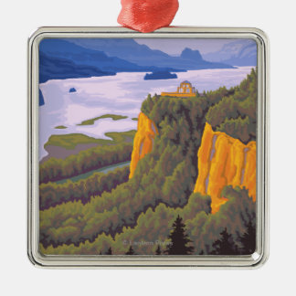 Columbia River Gorge Scene with Crown Point Christmas Ornament
