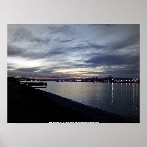 columbia river, lewis and clark bridge, sunset poster