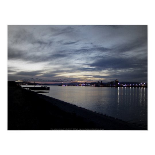 columbia river, lewis and clark bridge, sunset poster