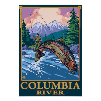 Columbia River, WashingtonFly Fishing Scene Poster