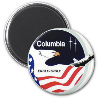 columbia space shuttle 6 cm round magnet