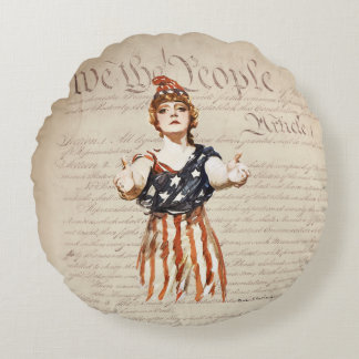 Columbia with Outstretched Arms w/Constitution Round Cushion