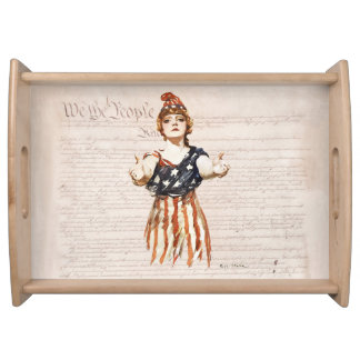 Columbia with Outstretched Arms w/Constitution Serving Tray