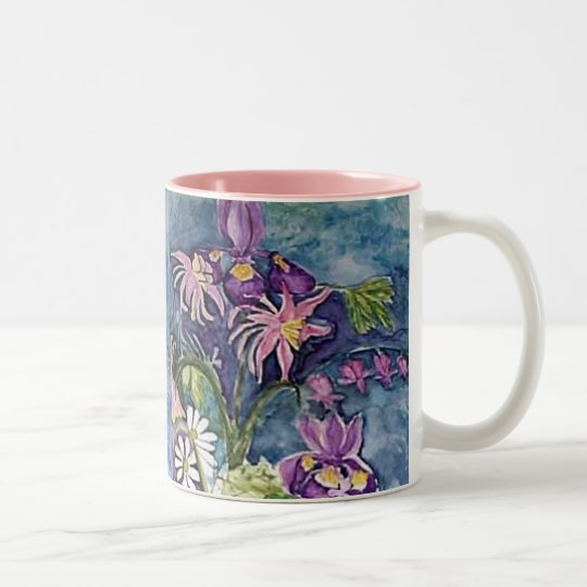 Columbine Iris and Daisy Two-Tone Coffee Mug