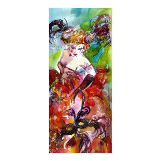 COLUMBINE,Mardi Gras, Sweet 16 Masquerade Party 10 Cm X 24 Cm Invitation Card