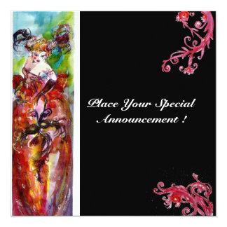 COLUMBINE,Mardi Gras, Sweet 16 Masquerade Party 13 Cm X 13 Cm Square Invitation Card