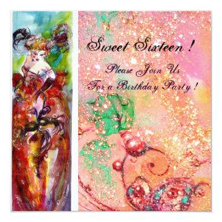 "COLUMBINE,Mardi Gras, Sweet 16 Masquerade Party 5.25"" Square Invitation Card"