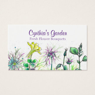 Columbine Nigella Watercolor Wildflowers Bouquet Business Card