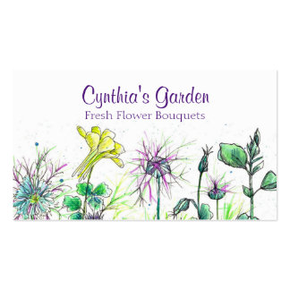 Columbine Nigella Watercolor Wildflowers Bouquet Pack Of Standard Business Cards
