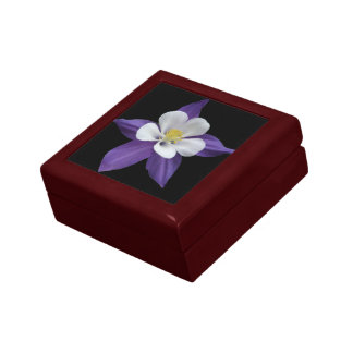 Columbine Purple and White Flower Jewelry Gift Box