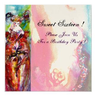 COLUMBINE,Sweet Sixteen Masquerade Party, gold 13 Cm X 13 Cm Square Invitation Card