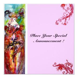 "COLUMBINE, Sweet Sixteen Masquerade Party 5.25"" Square Invitation Card"