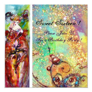 COLUMBINE,Sweet Sixteen Masquerade Party,red blue 13 Cm X 13 Cm Square Invitation Card