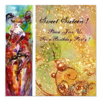 COLUMBINE,Sweet Sixteen Masquerade Party,yellow 13 Cm X 13 Cm Square Invitation Card