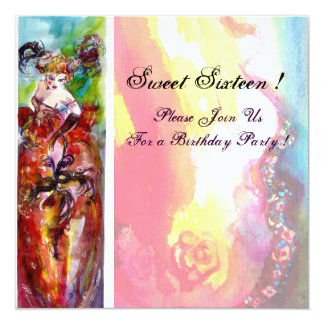"COLUMBINE,Sweet Sixteen Masquerade Party,yellow 5.25"" Square Invitation Card"