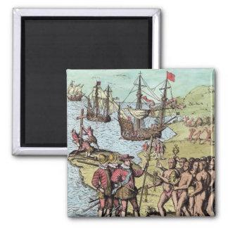 Columbus at Hispaniola Square Magnet