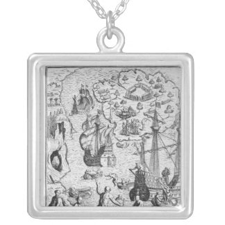 Columbus at Isla Margarita' Silver Plated Necklace
