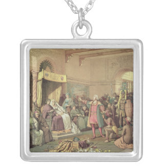 Columbus at the Royal Court of Spain in Barcelona Silver Plated Necklace