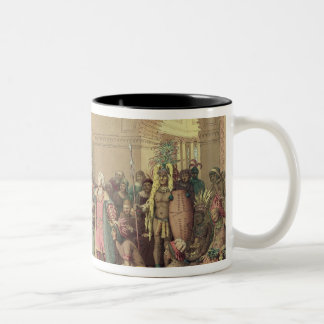 Columbus at the Royal Court of Spain in Barcelona Two-Tone Coffee Mug