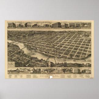 Columbus Georgia 1886 Antique Panoramic Map Posters