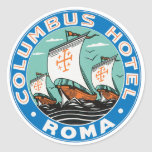 Columbus Hotel Roma Round Sticker
