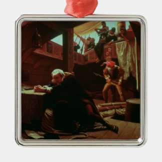 Columbus in Chains, 1863 Silver-Colored Square Decoration