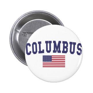 Columbus IN US Flag 6 Cm Round Badge