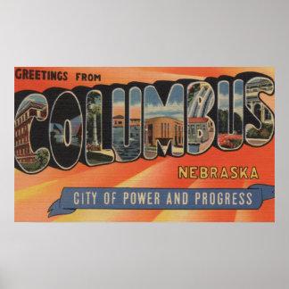 Columbus, Nebraska - Large Letter Scenes Poster