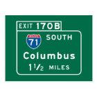 Columbus, OH Road Sign Postcard