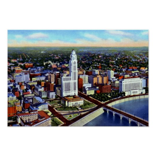 Columbus Ohio Birdseye View Poster