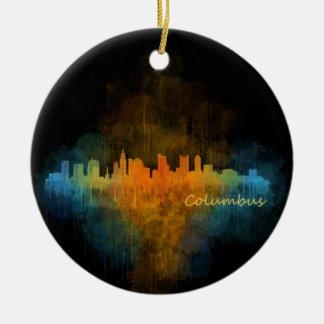 Columbus Ohio City Skyline. Watercolor Cityscape 4 Round Ceramic Decoration