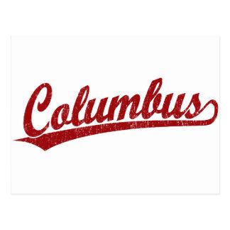Columbus script logo in red postcard