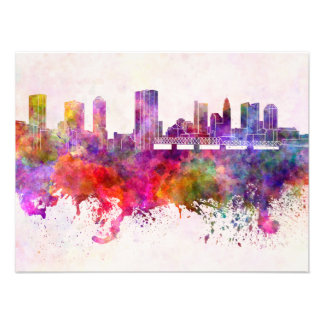 Columbus skyline in watercolor background photograph
