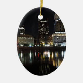 Columbus Skyline with the Moon Christmas Ornament